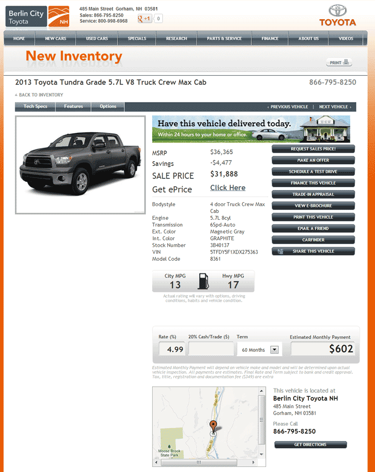 Berlin City Toyota Gorham, NH View Dealer Ad