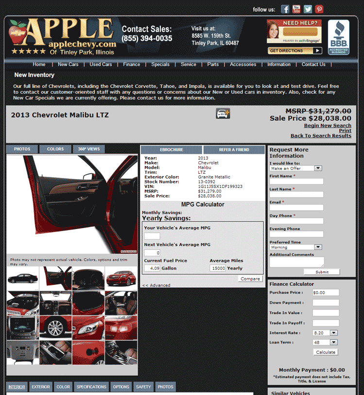 Apple Chevrolet Tinley Park, IL View Dealer Ad