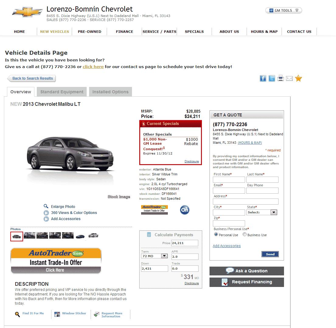 2013 Chevrolet Malibu Real Dealer Prices Free