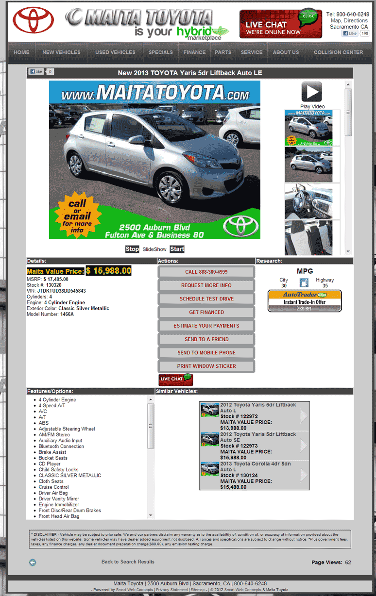 Maita Toyota Sacramento >> 2013 Toyota Yaris Real Dealer Prices - Free - CostHelper.com