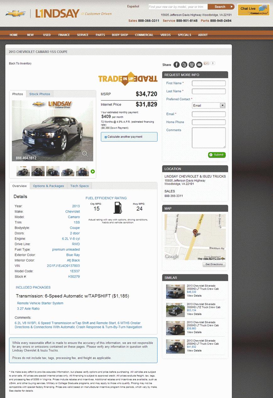 Lindsay Chevrolet Woodbridge, VA View Dealer Ad