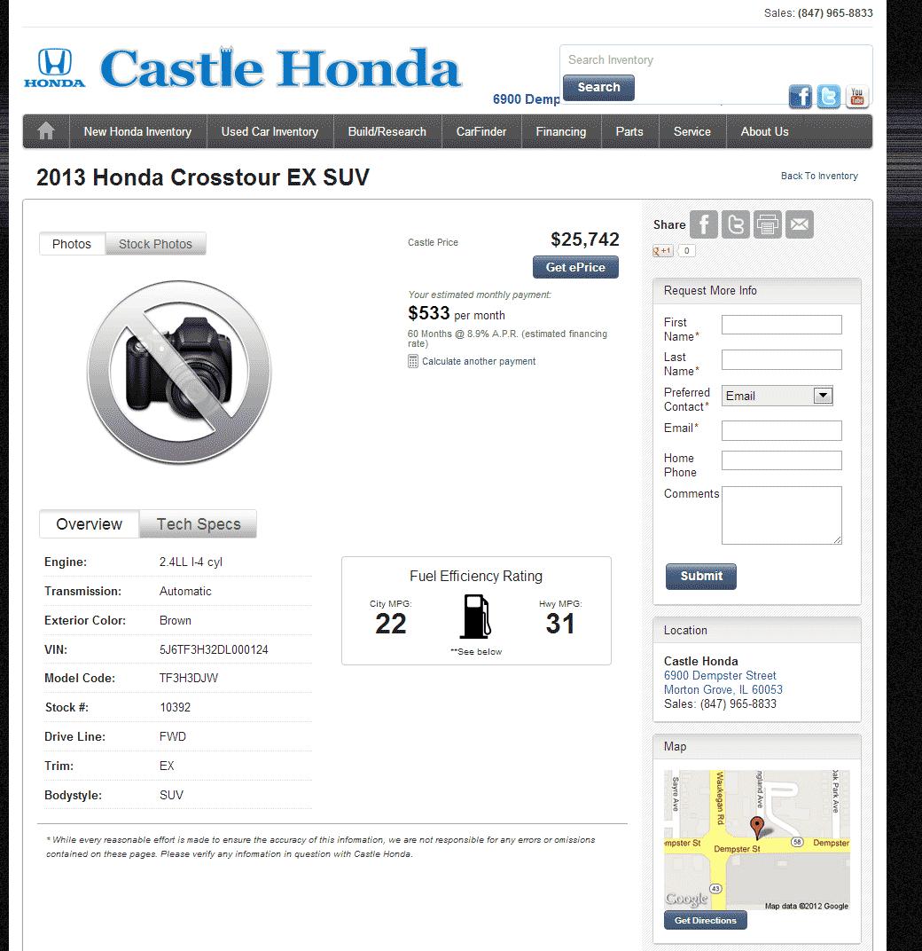 2013 honda crosstour real dealer prices free for Castle honda morton grove