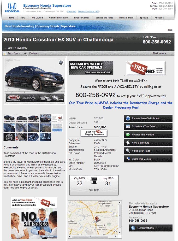 2013 Honda Crosstour Real Dealer Prices Free