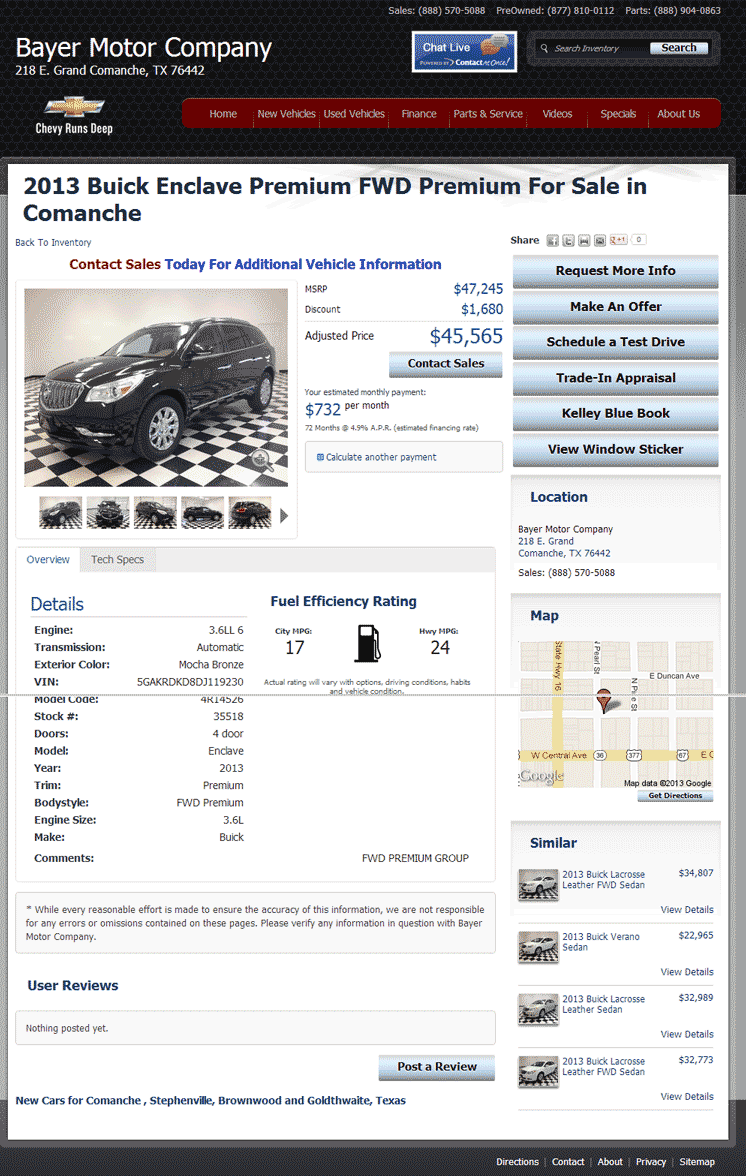 2013 buick enclave real dealer prices free for Bayer motor co comanche tx