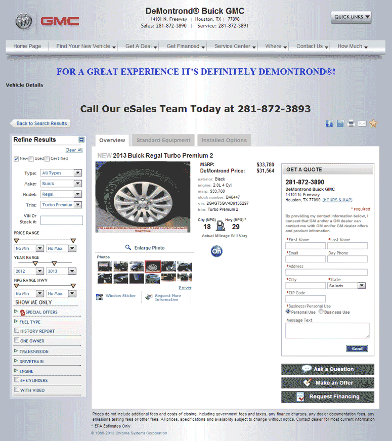 2013 Buick Regal Turbo: 2013 Buick Regal Real Dealer Prices
