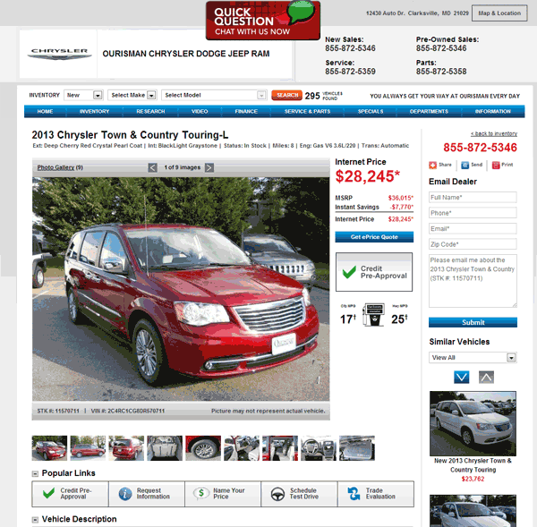 2013 Chrysler Town And Country Real Dealer Prices