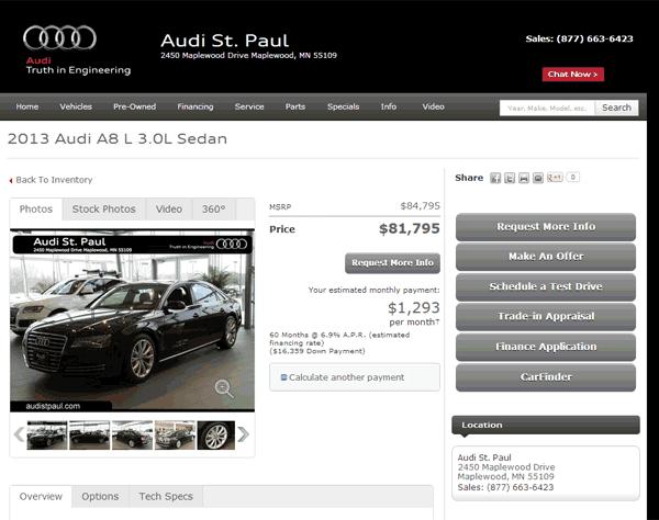 Audi A Real Dealer Prices Free CostHelpercom - Audi st paul