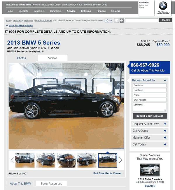 2013 BMW ActiveHybrid 5 Real Dealer Prices