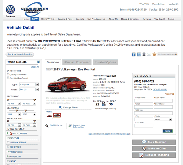 2013 Volkswagen Eos Real Dealer Prices Free Costhelper Com