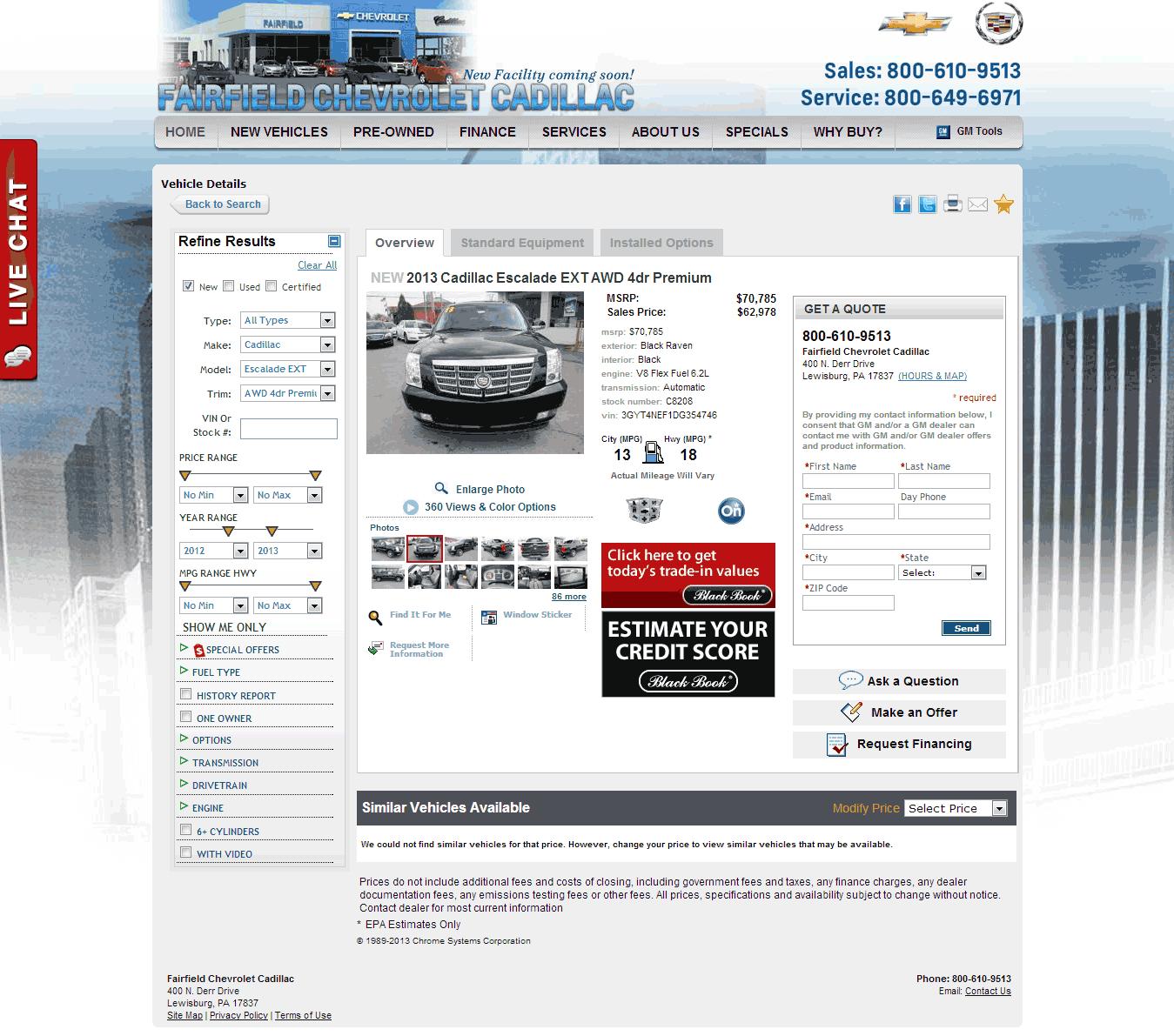 Cadillac 2013 Price: 2013 Cadillac Escalade EXT Real Dealer Prices