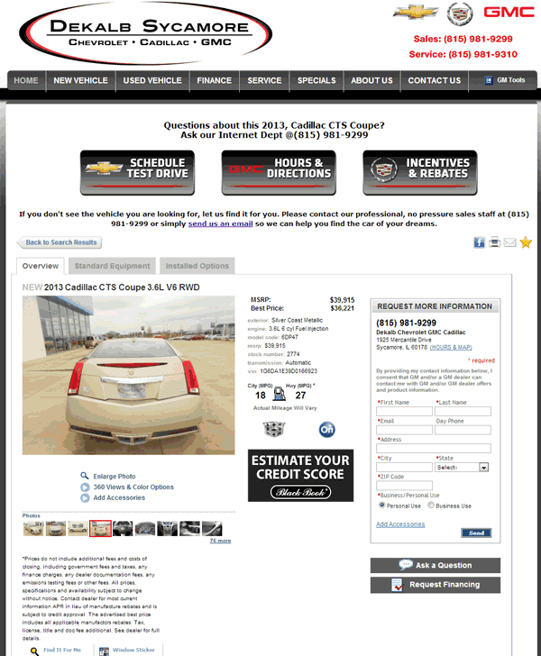 Cadillac 2013 Price: 2013 Cadillac CTS Real Dealer Prices