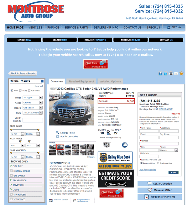 2013 cadillac cts real dealer prices free for Montrose motors montrose pa