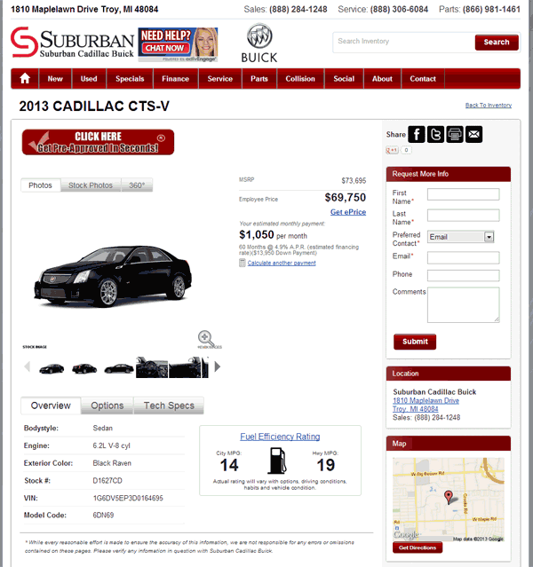 Cadillac Cts V Cost: 2013 Cadillac CTS-V Real Dealer Prices