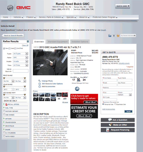 Randy Reed Gmc >> 2013 GMC Acadia Real Dealer Prices - Free - CostHelper.com