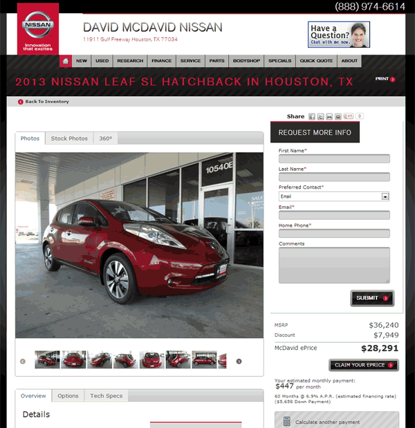 2013 nissan leaf real dealer prices free. Black Bedroom Furniture Sets. Home Design Ideas