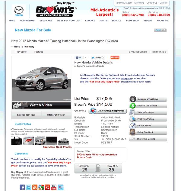 Mazda Dealers Maryland: 2013 Mazda 2 Real Dealer Prices