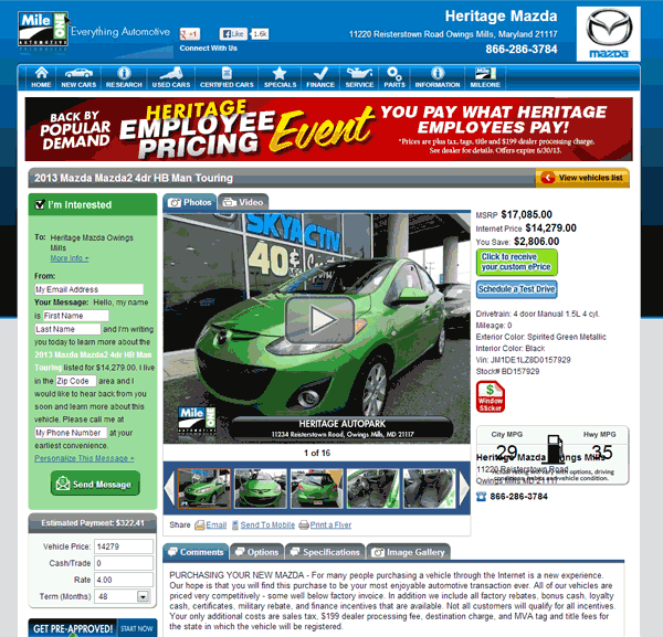 Heritage Mazda Owings Mills, MD View Dealer Ad